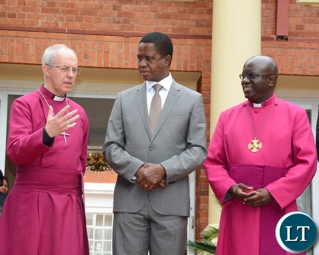 the most Reverend and Right Honourable Dr. Justin Portal Welby, Archbishop of Canterbury(l)speaks to President Edgar Lungu nd the most Reverend Albert Chama, Archbishop of Central Africa when they called on him