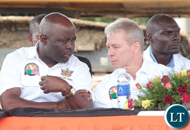 Minister of Local  Government and House,Stephen Kampyongo(I) with United States Ambassador to Zambia Mr.Eric Schultz (r) during the ground breaking in Garden Compound