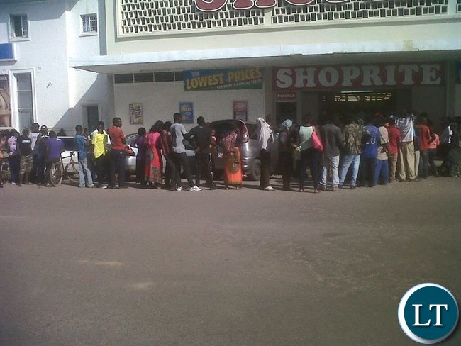 Chingola residents awaiting for their turn to buy mealie meal