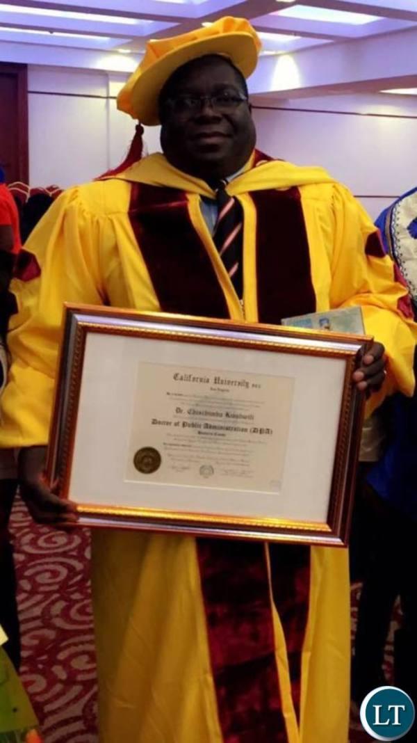 Zambia : Kambwili does not hold a Ph.D