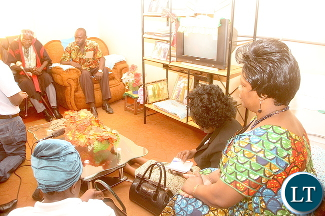 First Lady Esther Lungu pays a Courtesy call on Chief Nkole during the Outreach Programme in Kapiri Mposhi on Monday, April 25,2016 –Pictures by  THOMAS NSAMA
