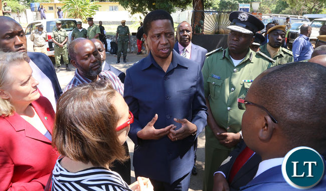 President Edgar Lungu Being Briefed at Kalemba Hall