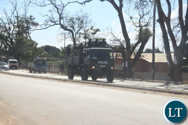 Zambia Police move in to control the situation