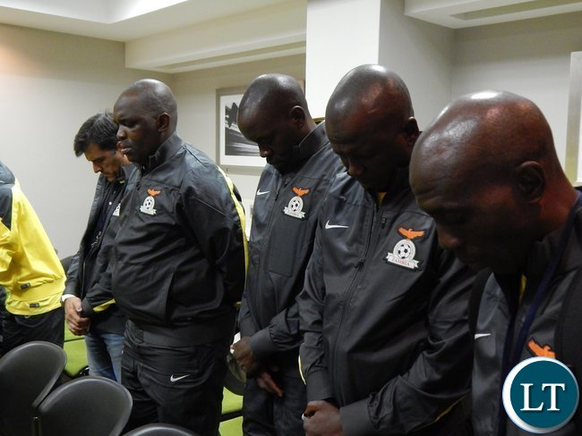 Zambia officials in prayer before their game against Tunisia at Ellis Park Arena, Johannesburg, South Africa