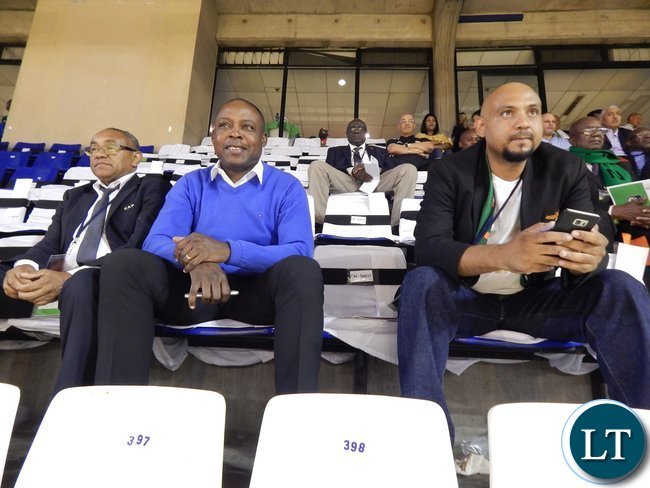 Right - Left: Delegation leader Lee Kawanu, former FAZ president Kalusha Bwalya and Confederation of African Football (CAF) Madagascar Organising Committee president Ahmad Ahmad follow proceedings during the Zambia - Tunisia game at Ellis Park Arena, Johannesburg, South Africa