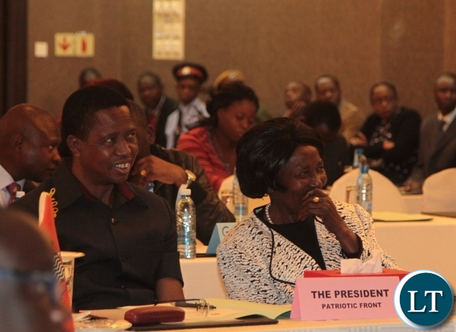 President Edgar Lungu(l) and Vice President Inonge Wina(r) during a briefing of Aspiring Presidential Candidates,Running mates and their Agents at Intercontinental Hotel in Lusaka