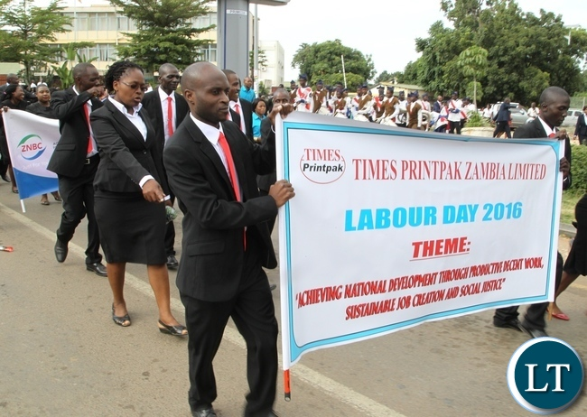 Times of Zambia Staff participating in this year Labour Day celebrations theme: Achieving National Development Through Productive Decent Work Sustainable Job Creation and Social Justice