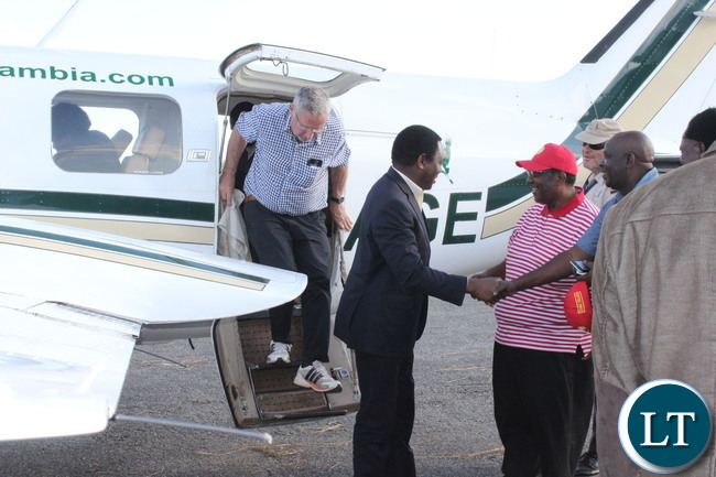 HH and Guy Scott  being welcomed on the Copperbelt at Kalulushi Airport
