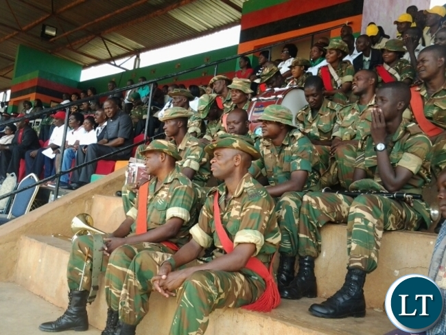 ZAMBIA Army Gondar Barrack brass band during labour day celebration held at David Kaunda stadium in Chipata