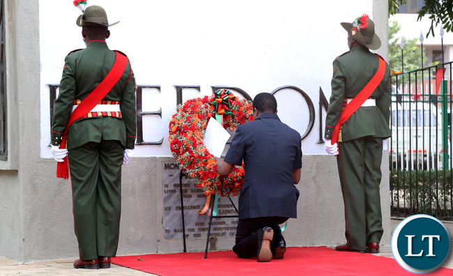 President Edgar Lungu During the Wreath laying Ceremony in Lusaka 1893