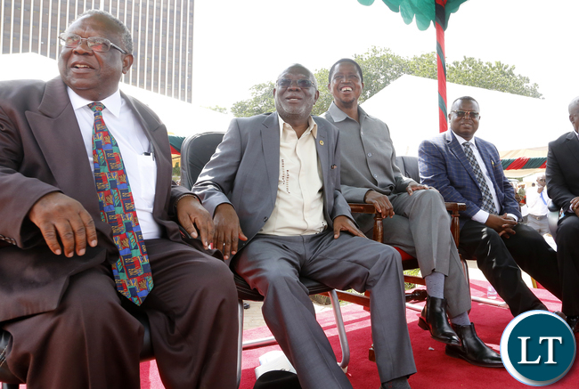 President Edgar Lungu with Union Leaders at Labour Day