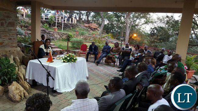 President Lungu addressing the PF provincial leadership in  Kitwe