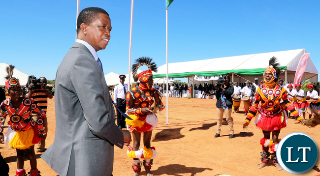 President Lungu with Traditional dancers