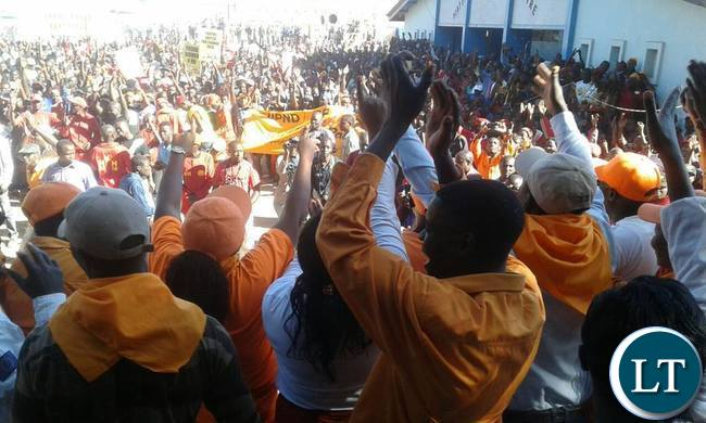 UPND and Miles Sampa supporters during the Matero rally