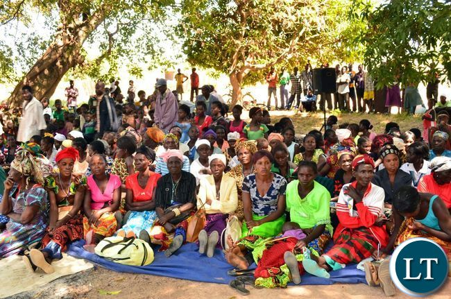 Villagers that attended the launch of a campaign againt  early marriages in Chief Mwansakombe