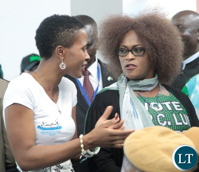 """President Lungu""""s daughter Tasila Lungu(l) talks to Mumbi Phiri(r) during the Presidential Nominations at Mulungushi conference center"""