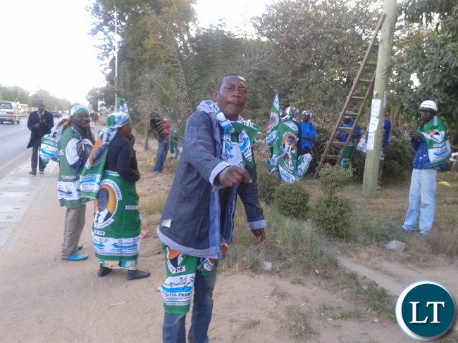 SOME Patriotic Front (PF) cadres captured while putting up some campaign materials in the Central Business District  of Choma