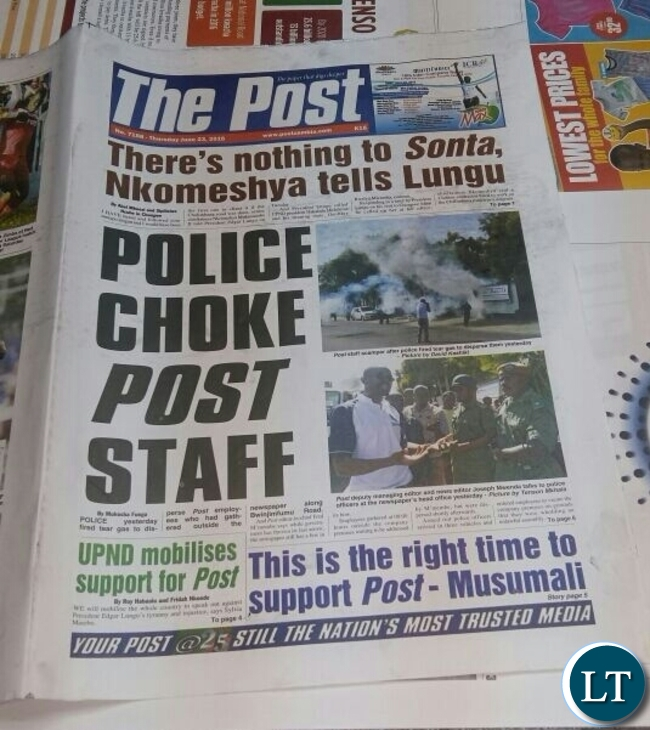Front page of todays edition of the Post Newspaper
