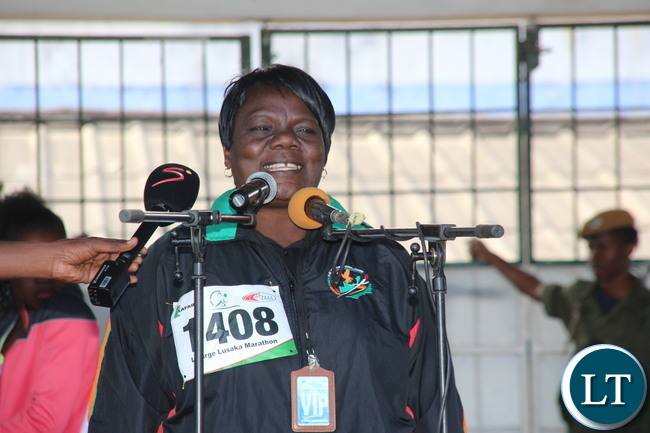 Minister of Sport PS Agnes Musunga delivering her speech.