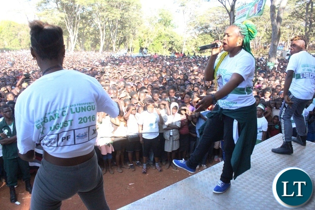 Zambian musician Mimi crazy entertains the crowd before Information Minister Dr. Chishimba Kambwili addressed a mammoth rally at President's Park in Kasama today. The Minister is in Northern Province to conduct a series of public rallies to explain government programmes