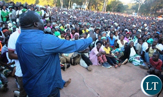 Information Minister Dr. Chishimba Kambwili when he addressed a mammoth rally at President's Park in Kasama today. The Minister is in Northern Province to conduct a series of public rallies to explain government programmes.