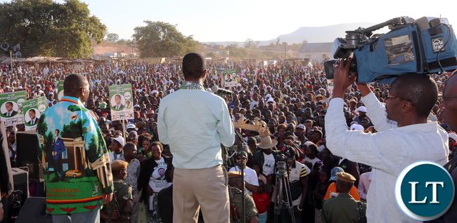 President Edgar Lungu adddress rally at Luangwa Market on Thursday - Picture by Eddie Mwanaleza/statehouse 23-06-2016.