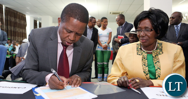 President Edgar Lungu with His Running Mates Mrs Wina