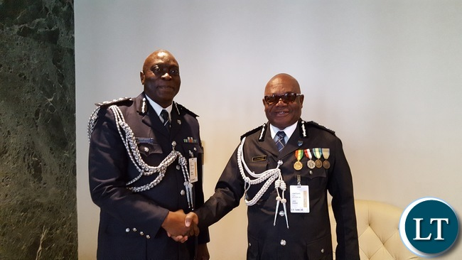 1. Zambia Police Inspector General Kakoma Kanganja and his Ghanian counterpart John Kudakor at UN Chiefs of Police Summit (UNCOPS) at UN HQ on Friday 3 June 2016. Photo | Zambia UN Mission Press Office