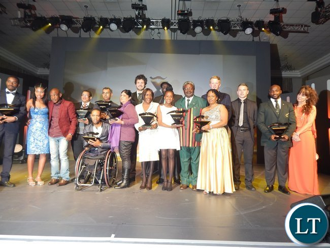 Award winners pose for a photograph at the African Union Sports Council Regional Annual Sports Awards presentation ceremony in Johannesburg, South Africa on 25th June, 2016.