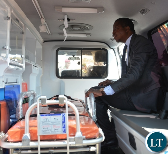 President Lungu sits in one of the state Ambulance immediately after officially opening the Zambia Air Force Hospital at Zambia Air Force Headquarters