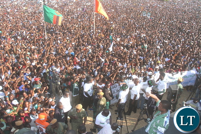 Part of the huge crowd that attended a mega rally which was addressed by President Edgar Lungu at Kasama Golf Course to woo voters ahead of the August 11 general election in Kasama today. .-picture by Mary Bwembya (ZANIS)
