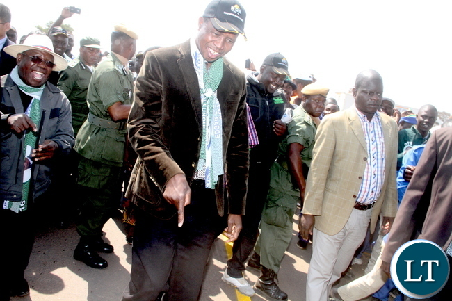 President Lungu points during the Commissioning of Mansa-Luwingu Road in Luwingu on Monday, July 18,2016 –Picture by THOMAS NSAMA