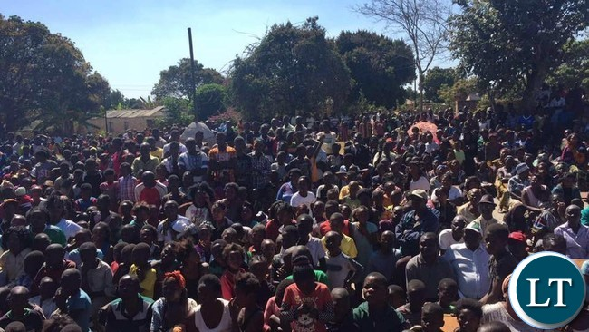 Part of the crowd that attended Dr Kambwili's rally