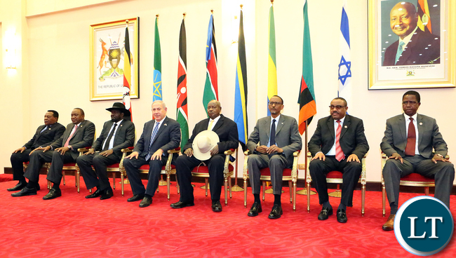 President Edgar Lungu at Entebbe State house with Israel Prime Minister and Other Regional Leaders Group Picture