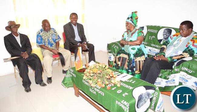President  Edgar Lungu with First Lady Madam Esther Lungu  Meeting Chiefs From Mumbwa, Kaindu(left) , Moono and Senior Chief Shakumbila
