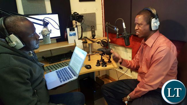 President Lungu stresses a point during an interview with Oscar Chavula of Hot FM