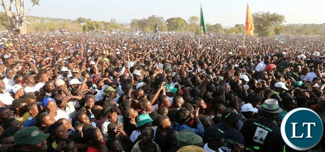 The crowd at gathered at the PF rally in Kasama