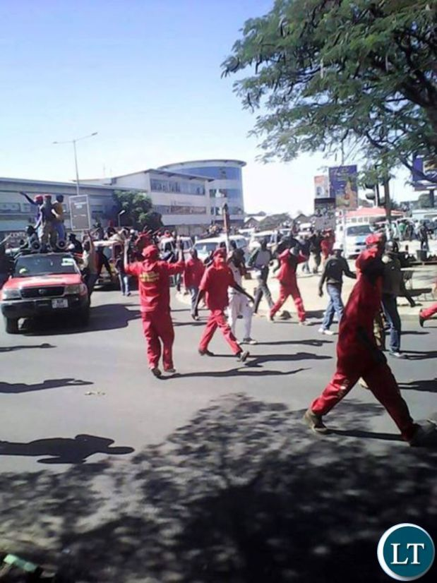 UPND cadres along Cairo road as they march to Chawama