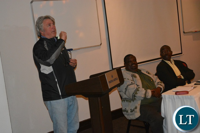World Skills International president Simon Bartley (left) emphasising a point as Livingstone Tourism Association chairperson Alexander Mutali (middle) and TEVETA Director General David Chakonta (right) look on.This was at Protea Hotel in Livingstone on Wednesday night when World Skills International officials made a professional talk to Livingstone based tourism operators.