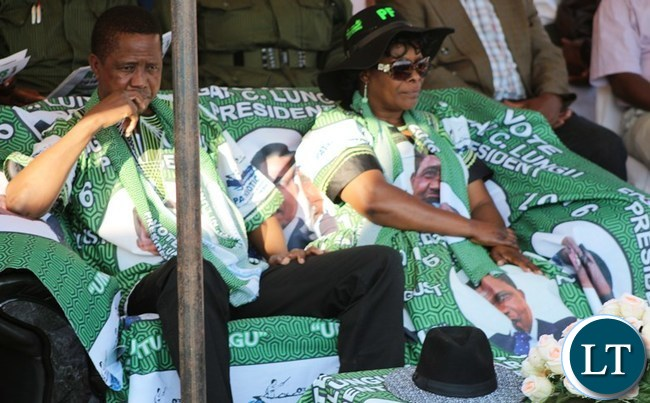 President Edgar Lungu and his wife Esther Lungu in Kasama when he addressed a mega rally at Kasama Golf Course today to woo votes ahead of the August 11 general election .-picture by Mary Bwembya (ZANIS).
