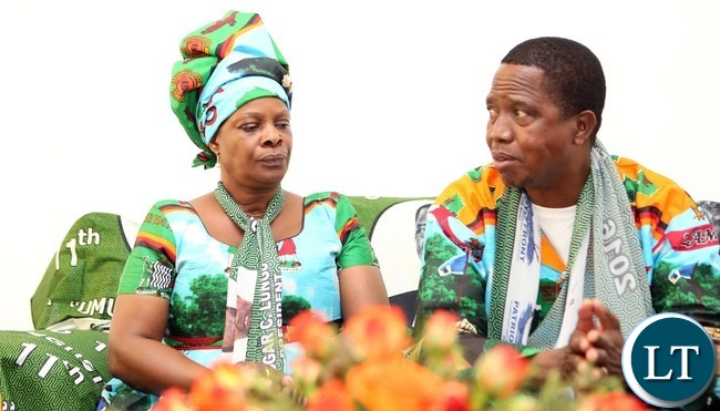 President Lungu with First Lady Esther Lungu in Mumbwa during the Meeting with Chiefs - Picture  by Eddie Mwanaleza