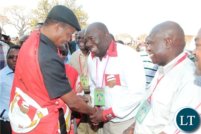 President Edgar Lungu being welcomed by Vice National Treasurer Masiye Banda on his arrival at Mukaika for kulamba Traditional Ceremony 2016