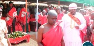 Mwini Kalonga Gawa Undi Mkhomo V arrives in the main arena whilst President Edgar Lungu (left) looks on during the traditional ceremony