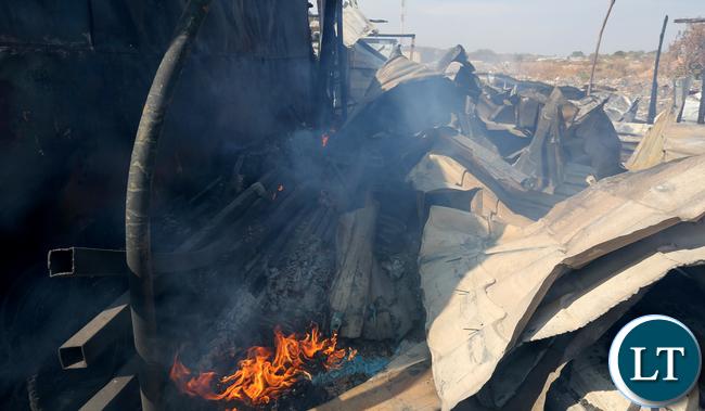 Shops burnt down by suspected UPND cadres at Bauleni Market