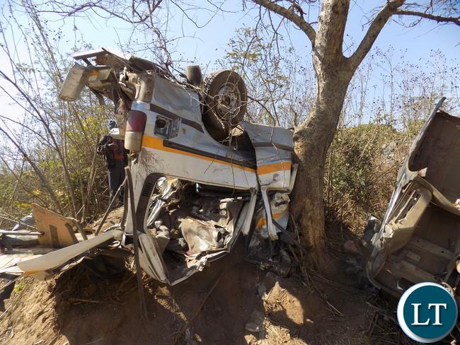 The road traffic accident Scene along the Kapiri Ndola road.