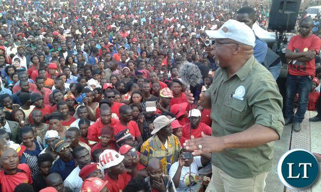 Nevers Mumba at a UPND Rally