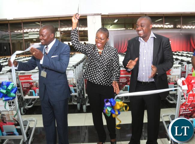 L-R Zambia Airport Corporation Limited Managing Director Mr Robinson Msitala;Vodafone Zambia Sales & Distribution Director Mrs Leah Kooma and Prosign Zambia Managing Director Michael Musonda.