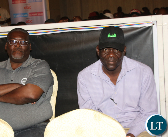Former Minister of Home Affairs Davies Mwila watching the fight.