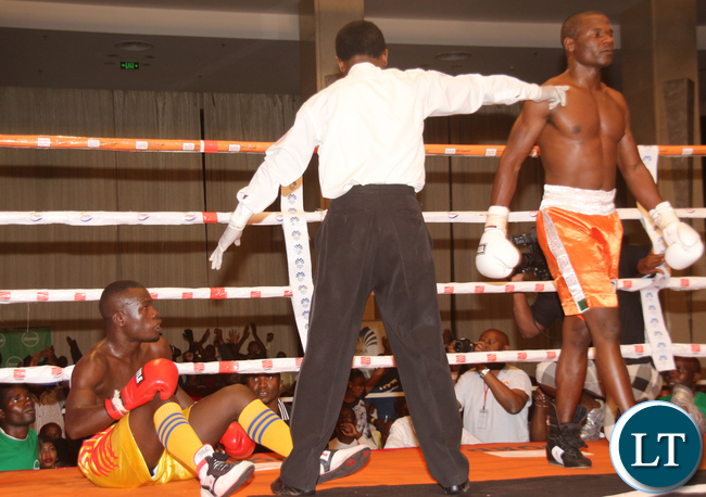 Charles Manyuchi sending Tanzanina boxer Deogratias Samwel to the carpet, the latter managed to continue untill the end of the 8 rounds non title Welter wight bout which the former won by unanimous judges decision.