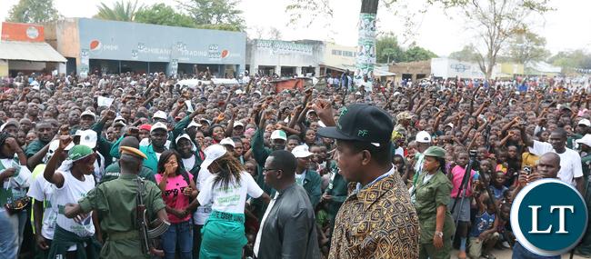 President Lungu with Fisrt Lady at Chama Boma Rally on thursady 7620